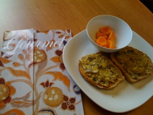 Mustard Sardines on Toast with Persimmons